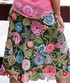 Crochet free form skirt ♥LCS-MRS♥ with diagrams.