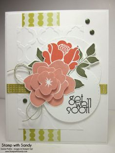 Thursday, February 20, 2014 Stamp With Sandy: Get Well Floral, Using Stampin' Up Simple Stems Stamp Set and Mosaic Embossing Folder