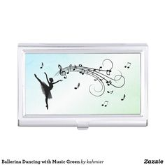 Ballerina Dancing with Music Green Business Card Case