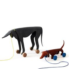 Leather Pull Along Dogs by Ellen Heilmann #Toys