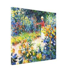SOLD! - In the Garden Claude Monet woman painting Stretched Canvas Prints #garden #woman #painting #impressionism #vibrant #flowers #Monet #Paris #France #Canvas #print #home #decoration #gift