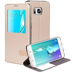 Patented Smart Cover  Galaxy S6 Edge Plus Case USAMS & Kollea Flip Cover W Bonus Smart APP Auto On/Off for Samsung Galaxy S6 Edge Plus  Gold #S6EdgePlus