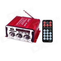 Kinrener MA600 2 LED Digit 2-Channel Car Amplifier Hi-Fi MP3 Player w/ FM / USB / SD / AUX - (12V)