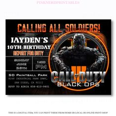 Call of Duty Birthday invitation Call of duty Boy Birthday