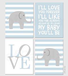 "Boys Nursery Elephant Wall Art PRINT SET FOUR Prints, Personalize Elephant Animals Room Decor Child Pastel Blue Gray White ofCarola 8x10"""