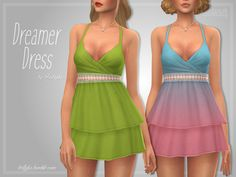"trillyke: "" Dreamer Dress Sweet layered ruffle dress with a lace strap in the middle, perfect for the hot summer days! Inspired by the Teenage Sweethearts Ruffle Romper on DOLLSKILL. Sims Four, Sims 4 Mm Cc, Sims 4 Dresses, Sims4 Clothes, Sims 4 Clothing, Female Clothing, Girl Clothing, Ruffle Romper, Sims 4 Cc Finds"