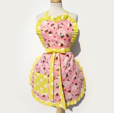 Retro Apron Cupcakes Cherries and Polka dots Full Apron. $28.00, via Etsy.