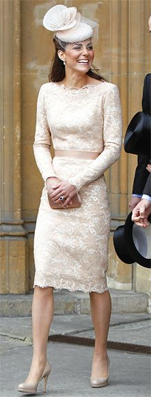 The Duchess of Cambridge arrived at St. Paul's Cathedral for the Diamond Jubilee service in honor of the Queen wearing a dusty rose lace Alexander McQueen shift and a pale peach Jane Taylor hat. She finished the look with a small bronze clutch and her trusty L.K. Bennett platform pumps in nude.
