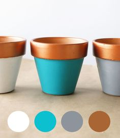 Copper-Dipped Planter DIY White, teal, grey, and brown color palette. Painted Plant Pots, Painted Flower Pots, Flower Pot Crafts, Clay Pot Crafts, Decorated Flower Pots, Teal And Grey, Copper And Grey, Diy Planters, Terracotta Pots