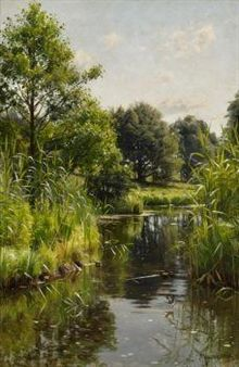 Artworks of Peder Mork Monsted (Danish, 1859 - from galleries, museums and auction houses worldwide. Watercolor Trees, Watercolor Landscape, Landscape Art, Landscape Paintings, Watercolor Paintings, Vintage Landscape, Cottage Art, Beautiful Landscapes, All Art