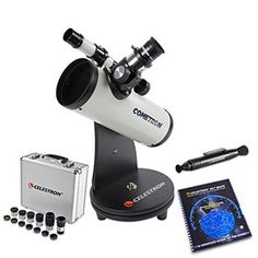 Celestron Cometron FirstScope Bundle is a compact, lightweight telescope that's perfect for beginners looking to experience the magic of a dazzling comet, planet, or nebula. Gifts For Boss, Focal Length, Aperture, Lens, Good Things, Sky, Technology, Stars, Tecnologia