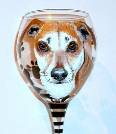 Pet Portrait Wine Glass Custom Hand by SharonsCustomArtwork