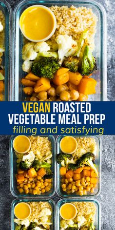 This vegan meal prep recipe pairs roasted vegetables, chickpeas and quinoa with a deliciously creamy turmeric tahini sauce. #sweetpeasandsaffron #mealprep #vegan #glutenfree Best Lunch Recipes, Tofu Recipes, Vegetable Recipes, Easy Dinner Recipes, Chicken Recipes, Healthy Recipes, Vegan Meal Prep, Lunch Meal Prep, Meal Prep Bowls
