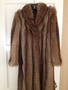 Woman's FUR COAT Full Length Raccoon Brown by NYVintageCouture