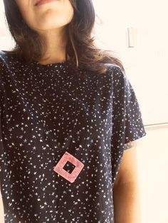 Square necklace/ Pink necklace/ translucent necklace by TheFormaClay on Etsy
