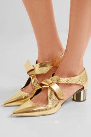 Proenza Schouler - Cutout Mirrored-leather Pumps - Gold - IT Low Heel Sandals, Pump Shoes, Low Heels, Slip On Shoes, Leather Pumps, Leather Slip Ons, Gold Pumps, Calvin Klein Collection, Proenza Schouler