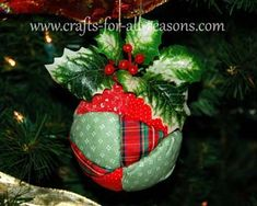 DIY Quilted Ball Ornament - instructions at Crafts For All Seasons