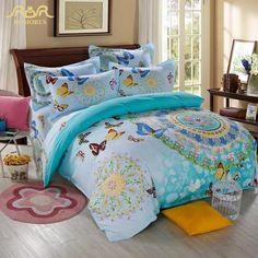 NEW - Elegant Butterflies and Flower Mandala Design Duvet Cover Set