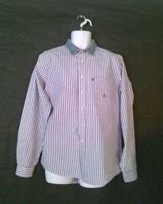 fbaf6e37 Rough Stock Blue and White Panhandle Slim Striped Button-Down Med - Large  Shirt #