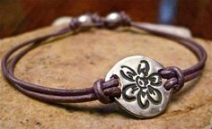 Flower Charm Leather Bracelet  7 or 75 inches by CarmellasJewelry, $37.50