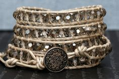 crystal wrap bracelet silver faceted crystal with by CorvusDesign, $55.00