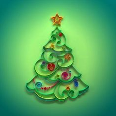 2014 Christmas quilling tree and stars outline - Christmas paper craft #2014 #Christmas