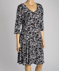 Look at this #zulilyfind! Black & White Swirl Gore V-Neck Dress - Plus by Intriguing Threads #zulilyfinds