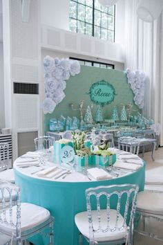 Party table from Breakfast at Tiffany's Inspired Birthday Party at Kara's Party Ideas. See more at karaspartyideas.com/! Find the Tiffany's look and many more at www.pinterest.com/laurenweds/theme-weddings