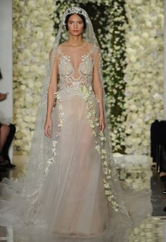 Blush Sheer Lace Deep V Wedding Dress | Reem Acra Wedding Dresses Fall 2015 | Maria Valentino/MCV Photo | Blog.theknot.com