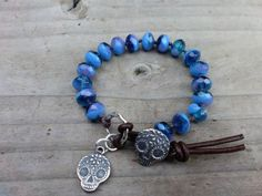 SALE Sugar Skull knotted bracelet-Sterling Silver in Blue Dia de los Muertos Day of the Dead on Etsy, Sold