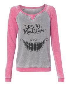 Alice in Wonderland - We're all mad here cheshire cat grin sweatshirt - off shoulder wide neck