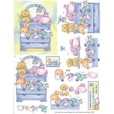 Free Printable 3D Paper Crafts   Decoupage Step By Step Children's Toys in Blue Code: DP-2370
