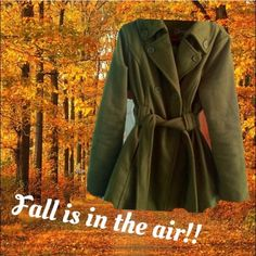 Olive Green💚Double Breasted💚Pea Coat Double Breasted,Olive Green 3/4 length coat❤Lime Green Lining💚Vented in back❤️matching belt❤️by JouJou❤️gently preowned❤Ver Classy💚XL fits more like a large❤️Like New💚Barely worn,I have alot of coats 💚Bundle💚All offers on listings please use offer button💚🚫trades Joujou Jackets & Coats Pea Coats