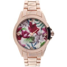 Womens Floral Dial Rose-Tone Bracelet Watch ($21) ❤ liked on Polyvore featuring jewelry, watches, floral watches, flower jewelry, geneva jewelry, flower watches and rose flower jewelry
