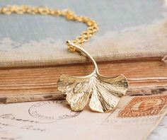 Ginkgo LEAF Necklace Autumn Fall Gold Leaf by redtruckdesigns, $29.95 - symbolizes peace, hope and longevity
