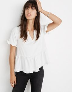 606de2287902d0 XS Stanza Ruffle-Hem Top in white nappa image 1 Clothes 2019, Shirt Outfit.  madewell.com