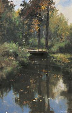 Тихий листопад репродукция для интерьера картина этюд маслом цветы в живописи храм пейзаж с мостиком мостик с плющом пейзаж для интерьера листопад