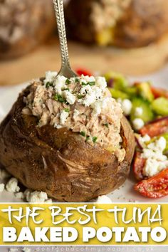 Here I'll show you how to make a simple Tuna Baked Potato in the most delicious way possible! | www.dontgobaconmyheart.co.uk Good Healthy Recipes, Real Food Recipes, Cooking Recipes, Yummy Food, Tuna Bake, Tuna Recipes, Potato Recipes, Frugal Meals, Frugal Recipes