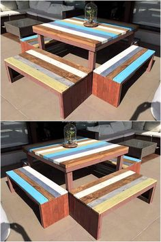 Give a new look to your outdoor area with this brilliant wood pallet furniture. These pallet benches with a middle table will change your outdoor in a rustic cafe. The pallet table and benches are decorative with the use of different paint colors. You can also make it more decorative with a fancy table cloth.