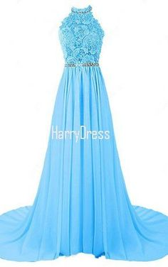 A Line Halter Tulle Chiffon Sweep Train Beading Blue Open Back Prom Dress