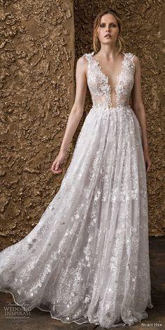 nurit hen 2018 bridal sleeveless thick strap deep plunging v neck full  embellishment romantic sot a 59ea827321cf