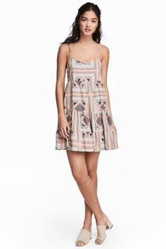 Vestido corto de volantes - Rosa empolvado/Estampado - | H&M ES 1