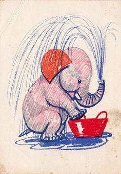 A. Laptev Elephant Postcard  1964 Soviet by RussianSoulVintage