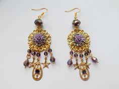 Boucles Victoriennes amethsyte - pendants d oreilles - Koukla et cie - Fait Maison