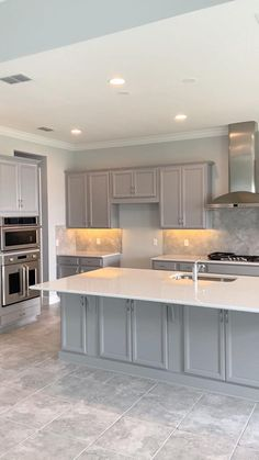 Modern Kitchen White Cabinets, Kitchens With Gray Cabinets, Painted Gray Cabinets, Kitchen Cabinets Grey And White, Kraftmaid Kitchen Cabinets, Frameless Kitchen Cabinets, Repainting Kitchen Cabinets, Stock Kitchen Cabinets, Light Grey Kitchens