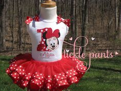 Baby Minnie Birthday Collection - Includes embroidered top, ribbon tutu and bow - Your choice of color- SUPERB quality