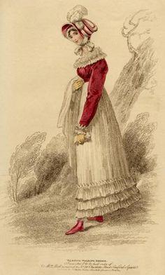 "La Belle Assemblée October 1814 (printed in the September issue) ""Morning Walking Dress"" of jaconet muslin"