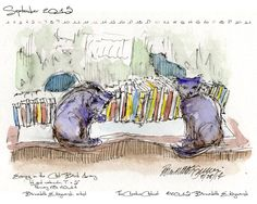 "September Featured Artwork and Desktop Calendar: ""Evening in the Cat Book Library"""