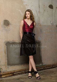 A line V Neck Taffeta Knee Length Natural Waist Sleeveless Bridesmaid Dress