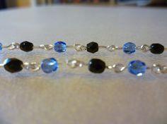 Pulsera piedras cristal azul y negro